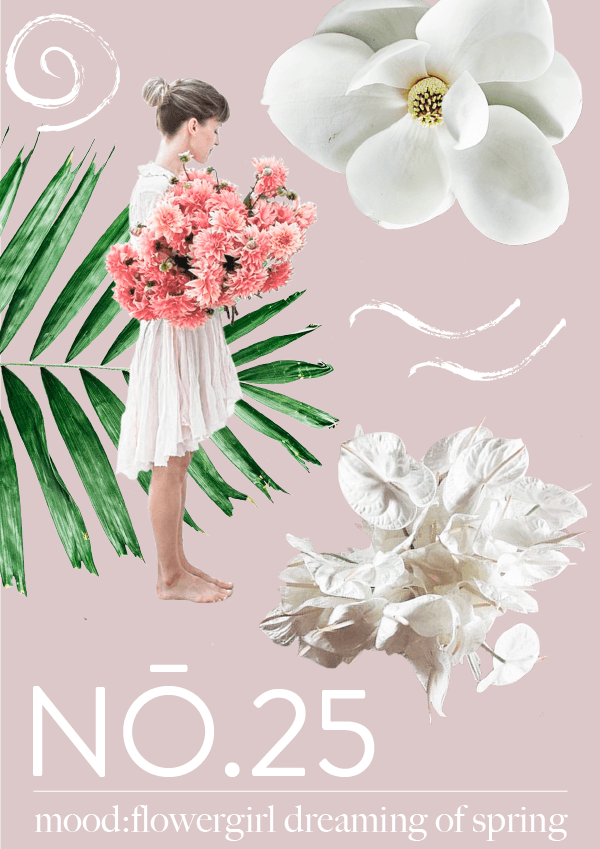 Collage No. 25 // mood:flowergirl dreaming of spring by phylleli #design #graphicdesign #collage #thecollageseries #typography #logodesign #branding #botanicals #nature #designer #flowers #flowergirl #editorialdesign #artdirection #softtones #freelancer #freelancedesigner #designblog