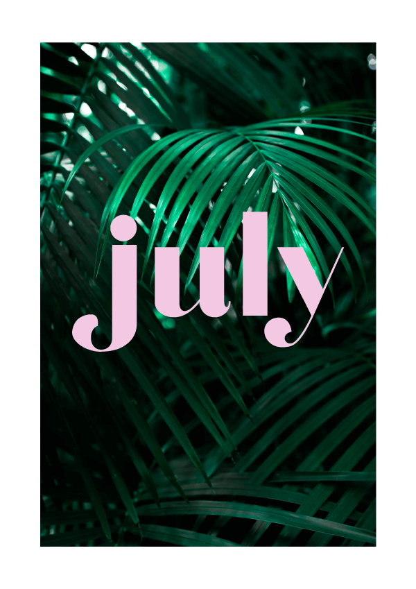 July // typographic exploration (Phylleli) #typography #design #graphicdesign #palmtrees