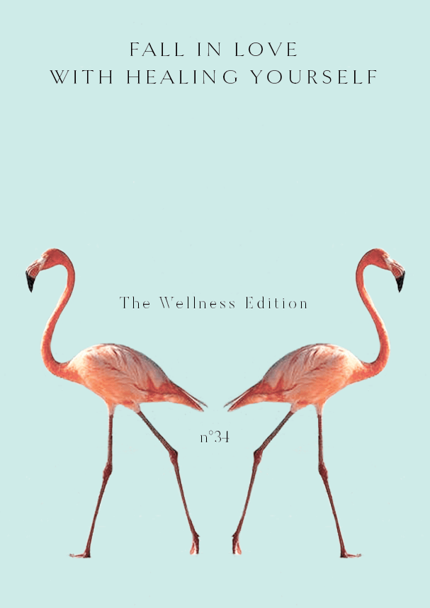 TWE NO.34//Fall in love with healing yourself (Phylleli) #design #graphicdesign #editorialdesign #flamingo #typography #minimalism #mentalhealth #wellbeing #selflove #selfcare