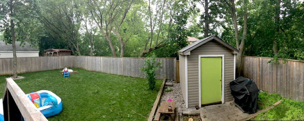 Enjoy a private backyard  - During summer months the trees offer privacy from rear neighbours, which stand on the extended property line beyond the fence.
