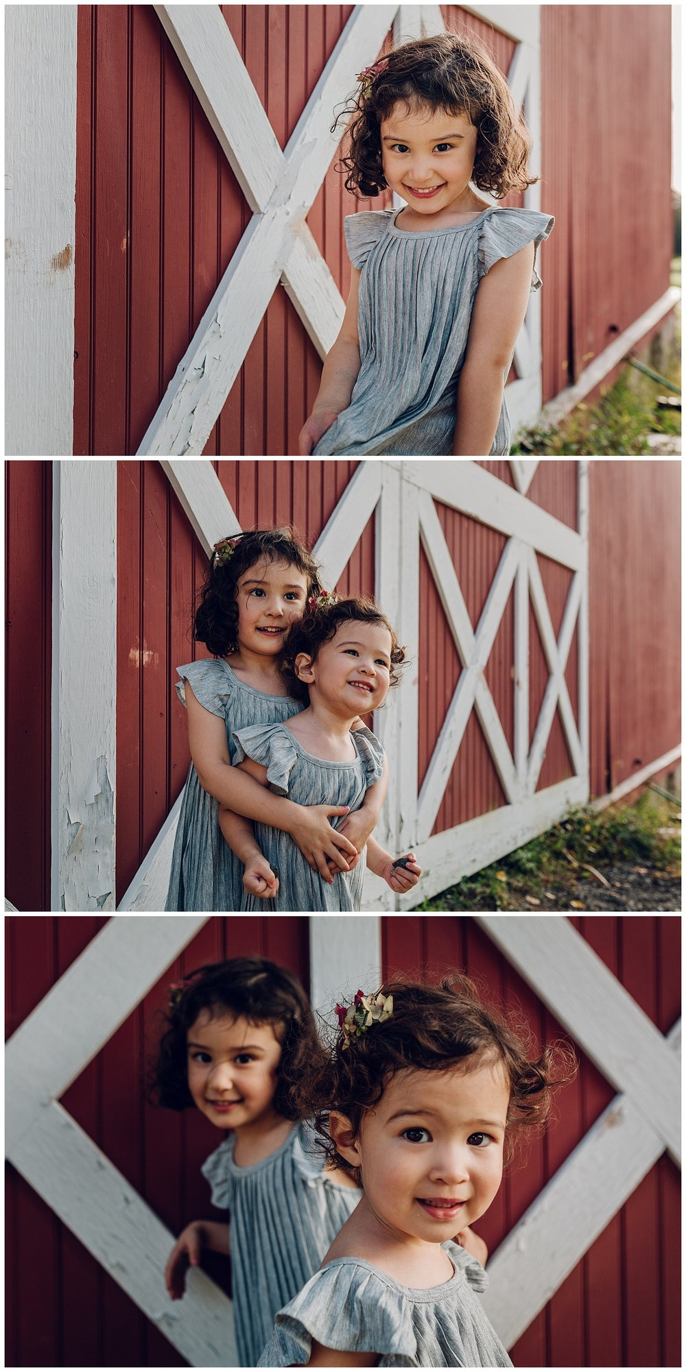 kids with a red barn by laura barr photography