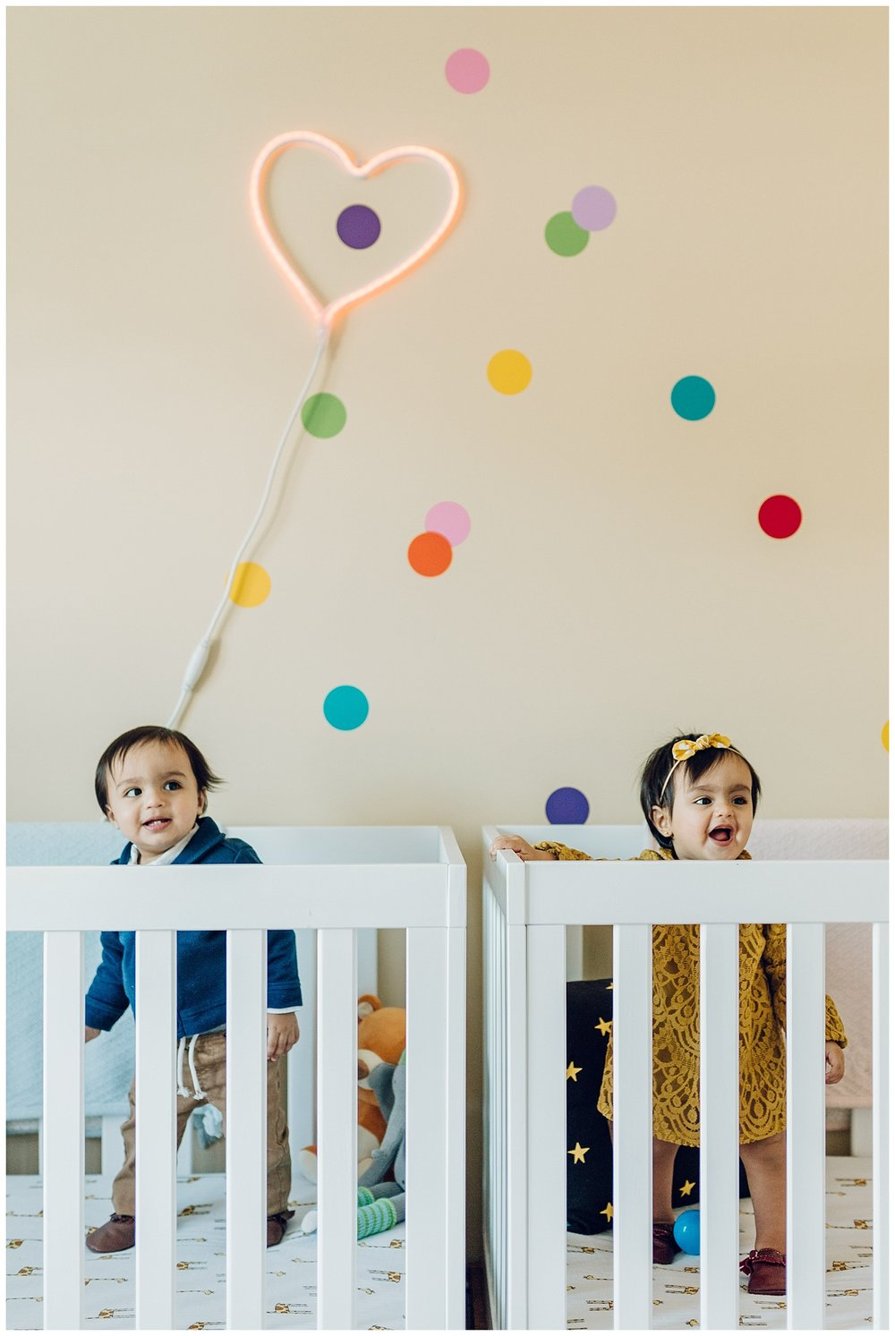 twins in a colorful nursery by laura barr photography