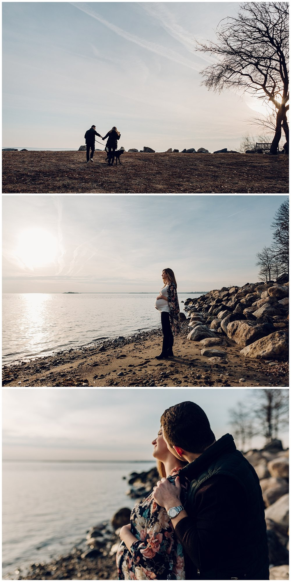 winter maternity photos at the beach in greenwich ct