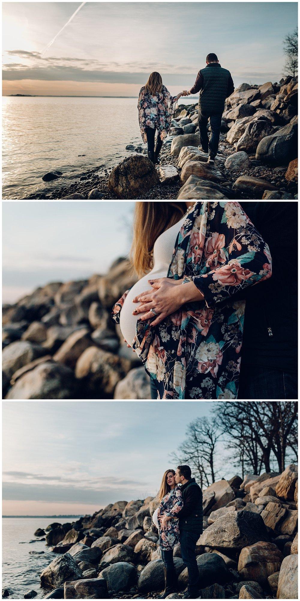 gorgeous winter beach maternity photos
