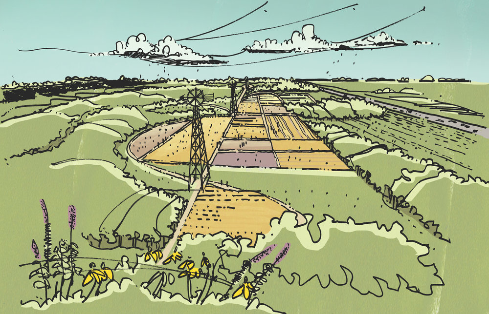 Conceptual drawing of research fields and monuments.
