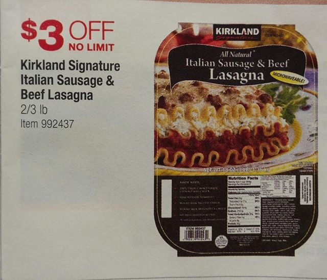 This is a great @costco coupon for Kirkland's Italian Sausage and Beef Lasagna. Valid Nov 6 - 15, 2018. #iamtiredofcooking #lasagna #easymeals