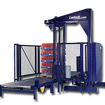 The Lantech S-1500 Automatic Rotary Arm Stretch Wrap Machine.