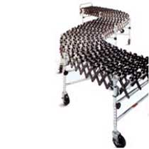A Wecon Flexible Skate Wheel conveyor in an S shape.
