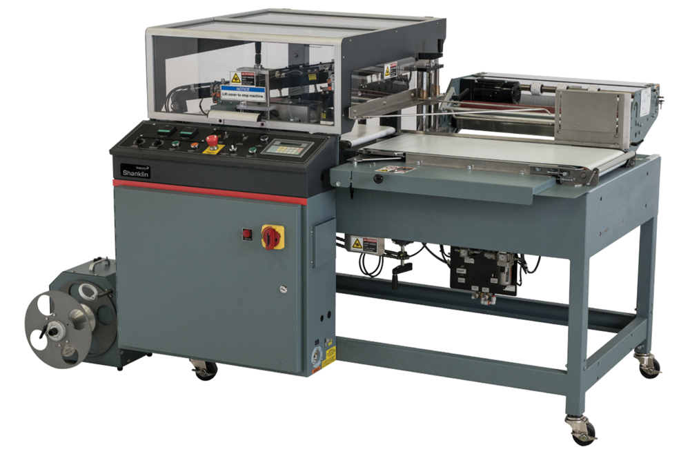 The Shanklin A-26A Automatic L-Sealer Shrink Wrap Machine.