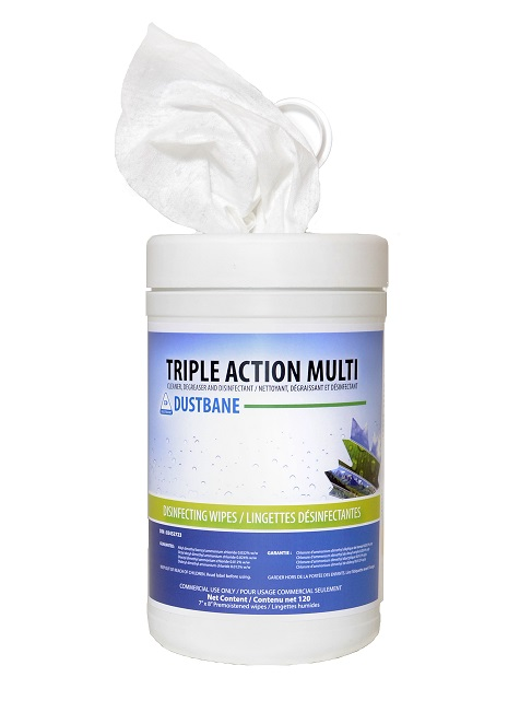 Dustbane Triple Action Multi surface cleaning wipes.