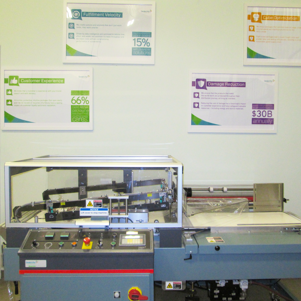 A side view fo the Sealed Air Shanklin L Sealer machine at the Brampton Packaging Machine Showroom