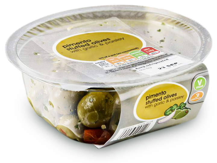 Olives in sealed punnet tray packaged by a Packaging Automation Revolution Top Sealing Machine.