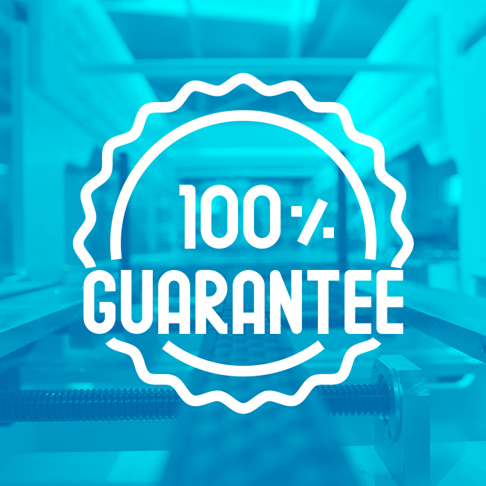 100% Guarantee symbol on top of blue background of packaging equipment.