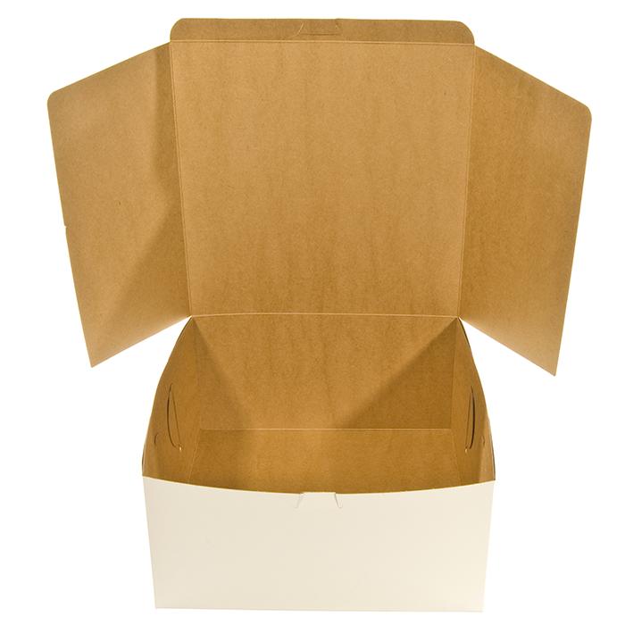 Empty White Cardboard Cake Box Open Food Service Packaging