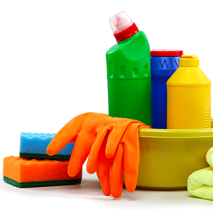 Sponges, rubber gloves and cleaning solutions in a plastic tub.
