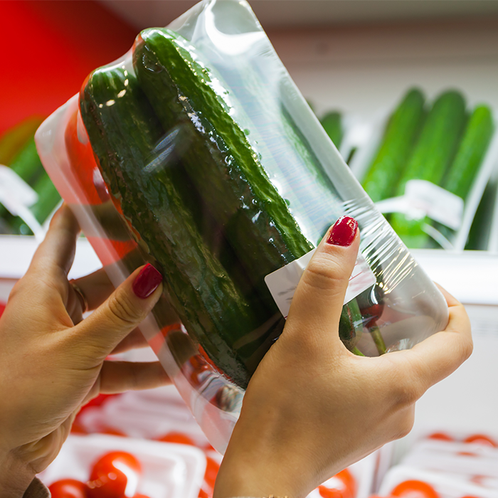 Cucumbers Wrapped in GrowPack Produce Packaging Shrink Film Tray