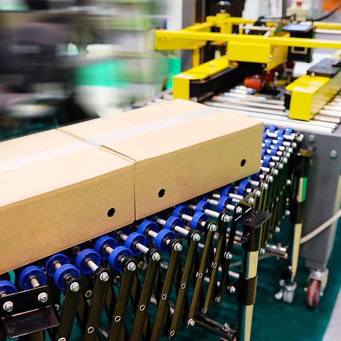 A flexible conveyor moving closed packages out of a carton sealing machine.