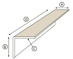A) Leg 1, B) Leg 2, C) Thickness, D) Length