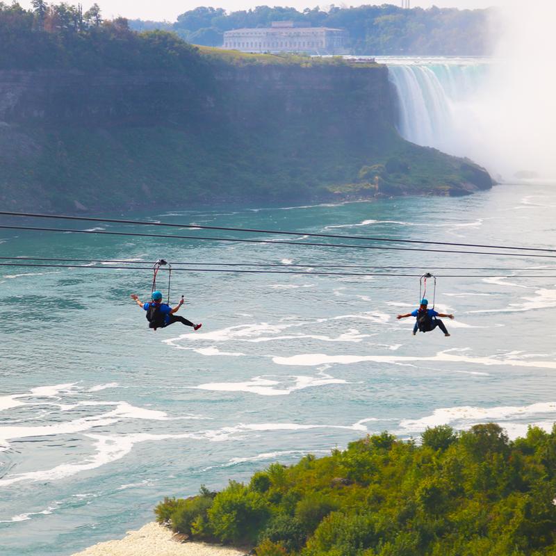 Crawford Cares Ziplining Over Niagram Falls for Balpex Zipline for Sunshine Dreams
