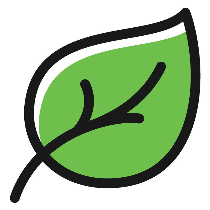 Green Leaf Icon to Represent Decreased Environmental Footprint