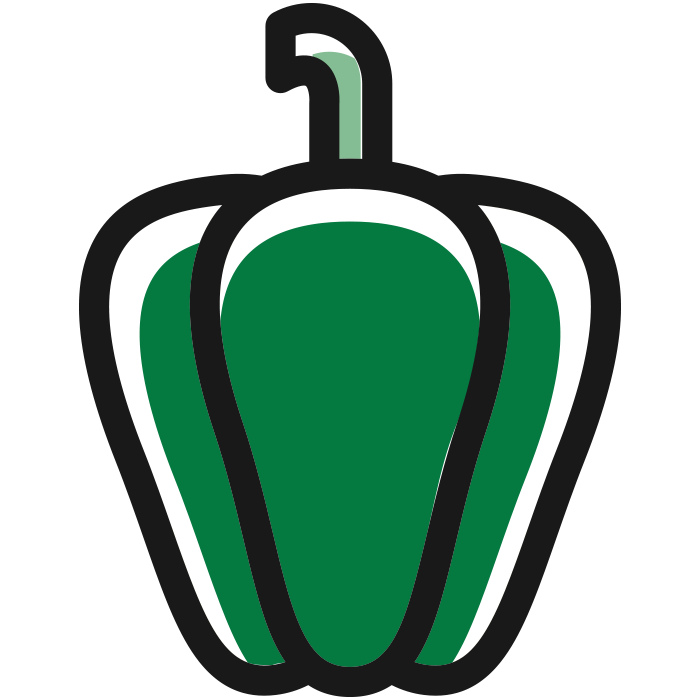 Green Pepper Icon to Represent Increasing Shelf Life