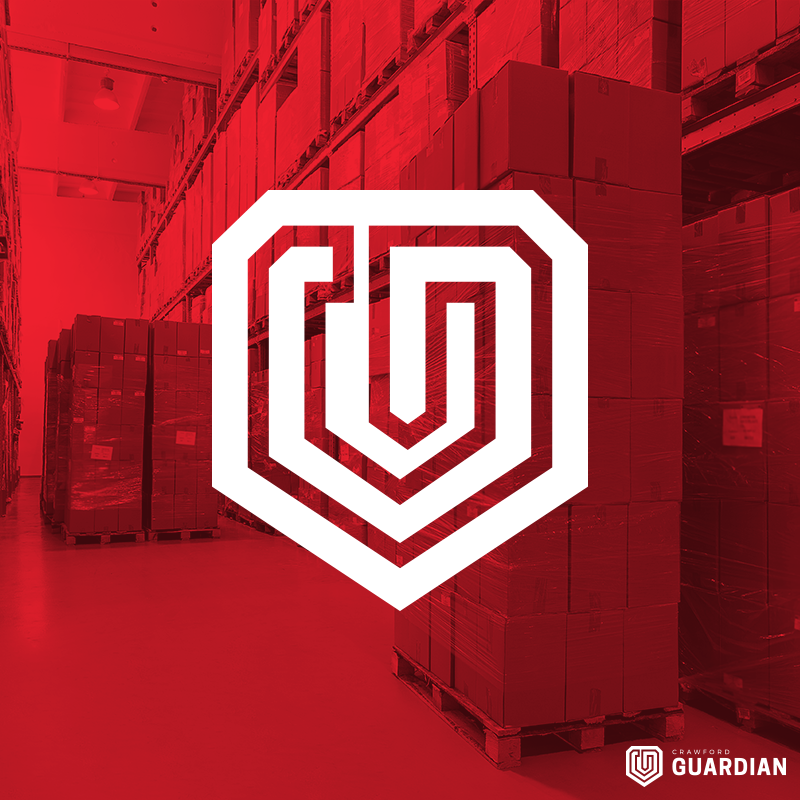 Crawford Guardian Logo Over Red Overlay Image of Pallets Wrapped in Stretch Film in Warehouse