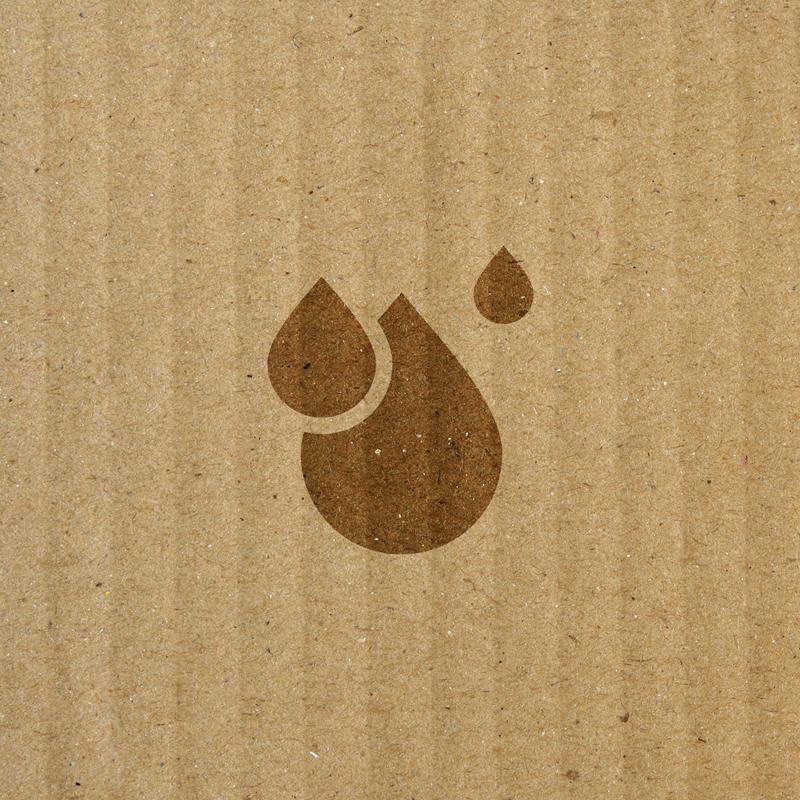 water drop icon overlaying cardboard box texture