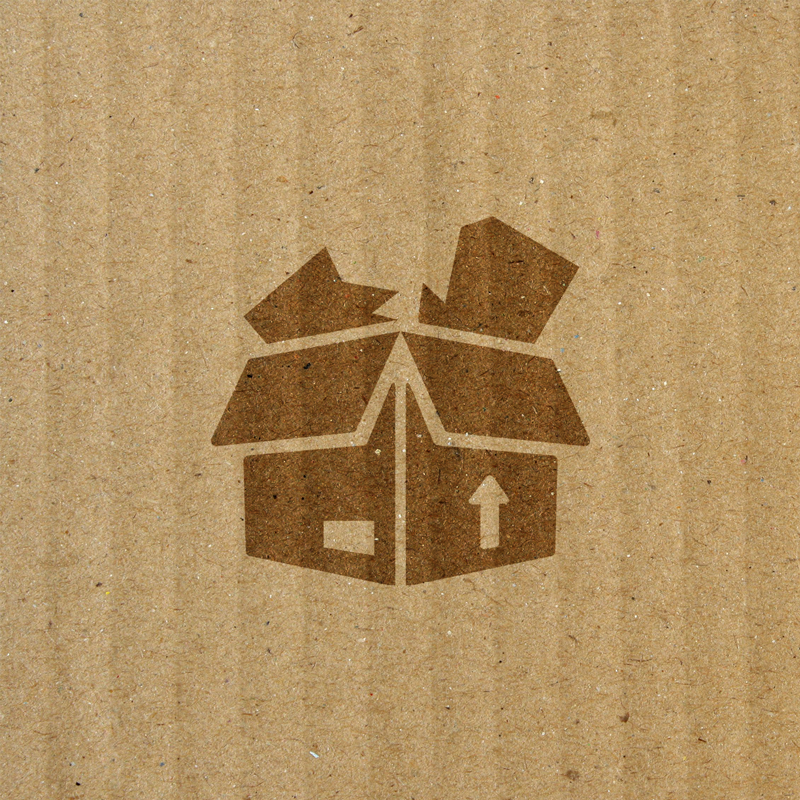 icon of damaged product in cardboard box over top of cardboard box textured background