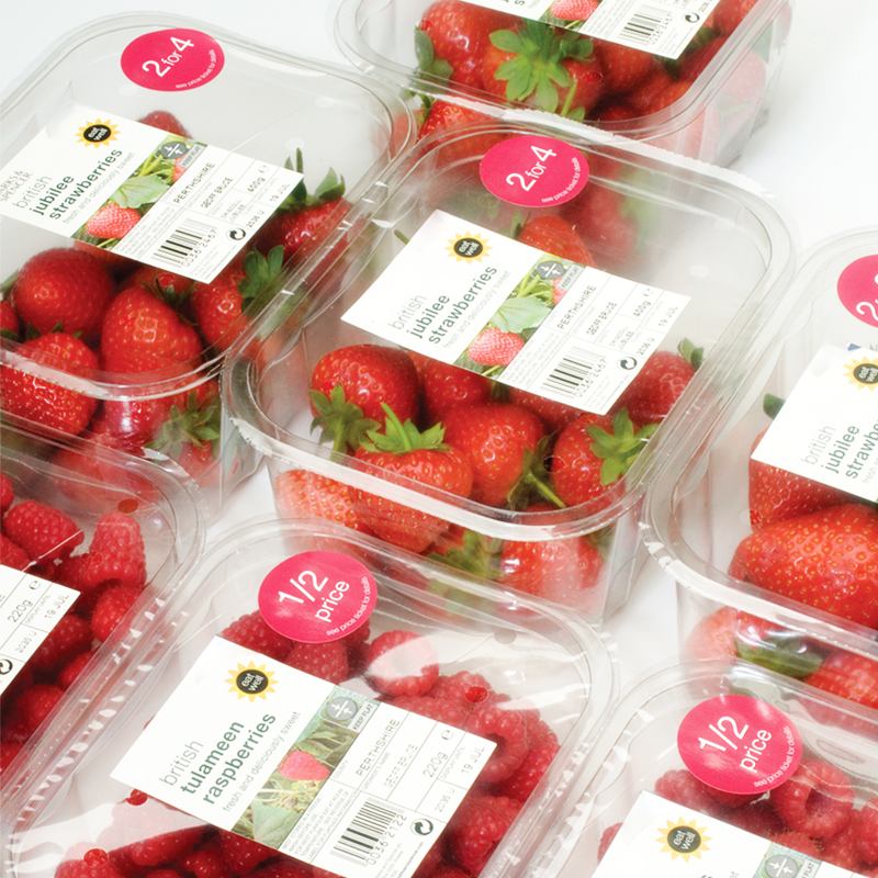 strawberries and raspberries packed in GrowPack lidding film