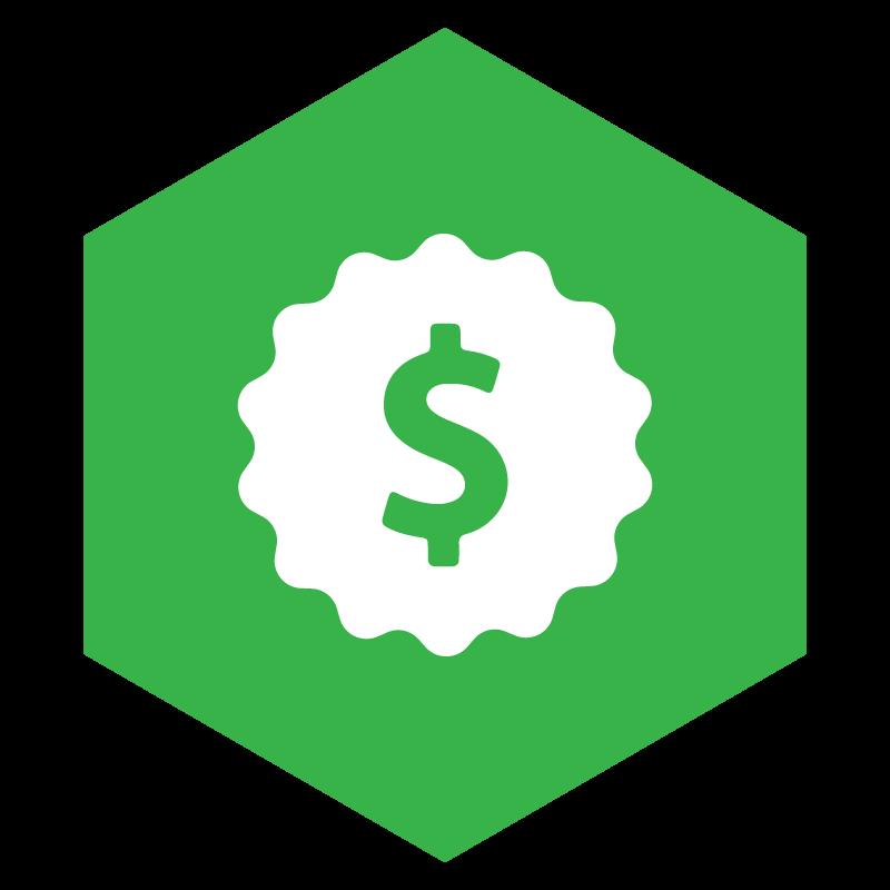 green buy it right pillar icon with white money symbol