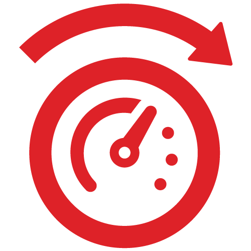 icon of speedometer coloured in red