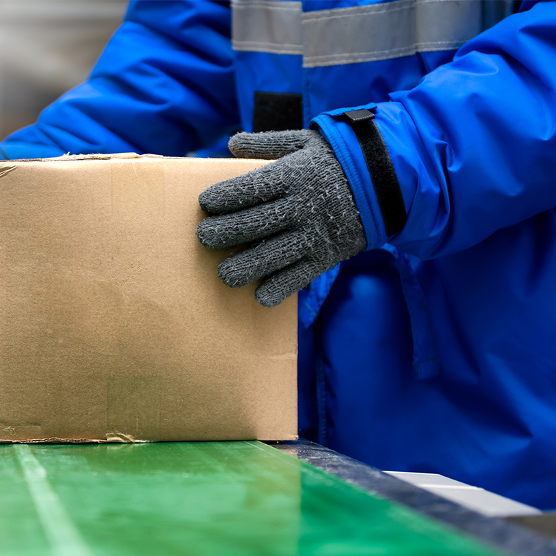 man wearing gloves and coat packaging boxes in cold temperature facility