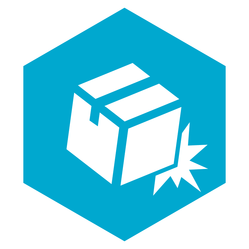 Protect It Right icon in cyan with a white cardboard box package over a cyan hexagon shape