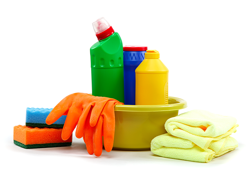 various cleaning product items in bright colourful packaging on white background