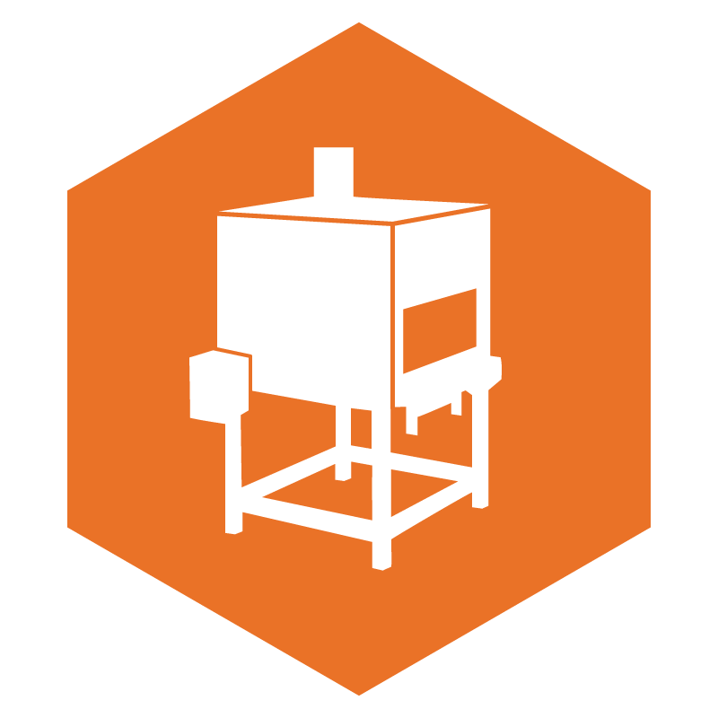 icon of a solid orange hexagon with a white outline of shrink wrap tunnel on top