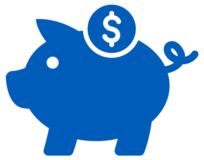 solid blue piggy bank icon on white background