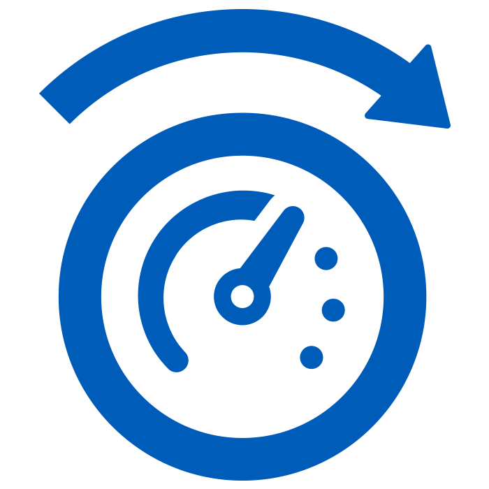 icon of solid blue speedometer on white background