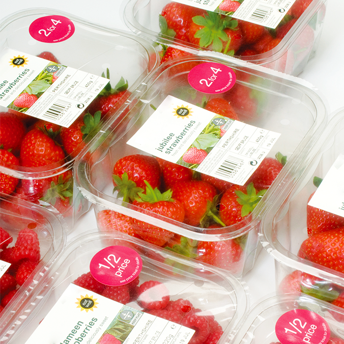 Fresh Strawberries packaged in GrowPack Top Seal Packaging