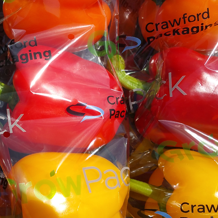 Three Pack of Bell Peppers Packaged in Printed GrowPack Flow Wrap Film
