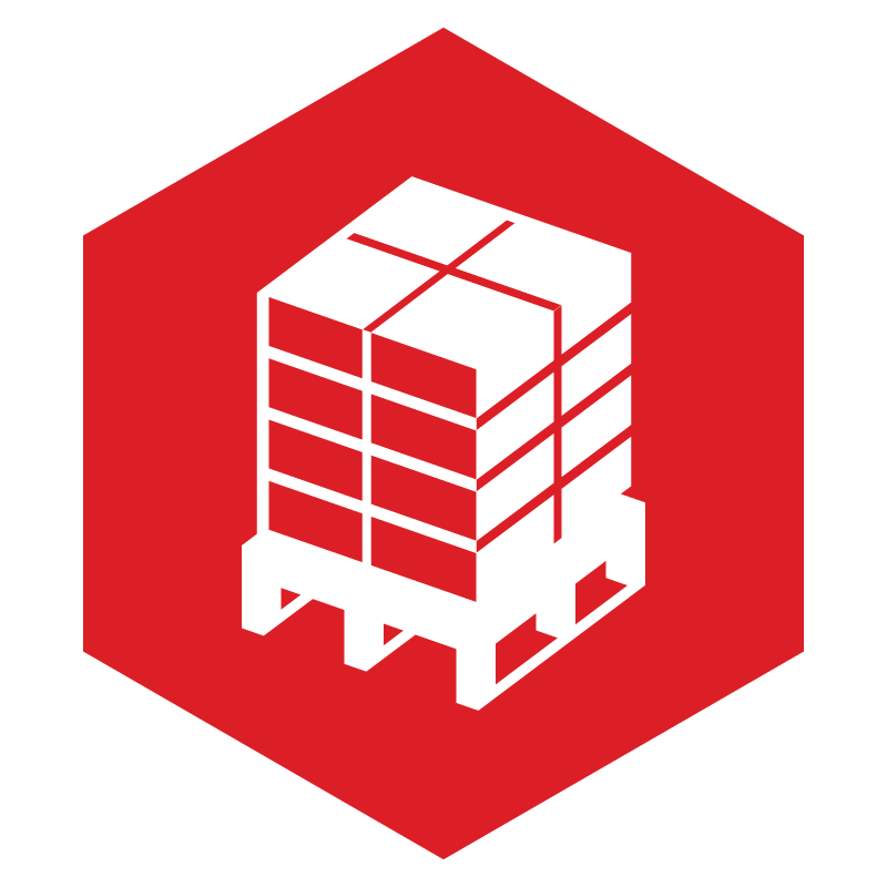 red hexagon with white pallet to symbolize crawford's wrap it right program