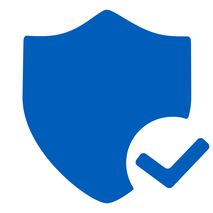 solid blue icon of a shield with a check mark in the bottom right corner