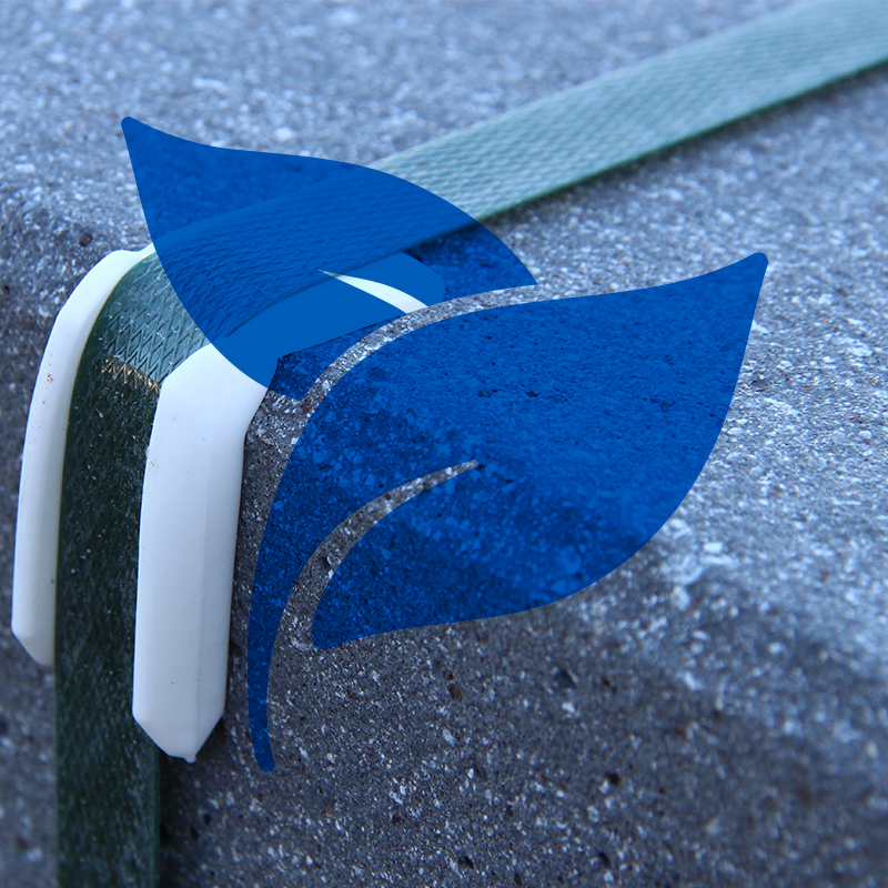 blue leaf icon on top of close up photo of green polyester strapping securing heavy load