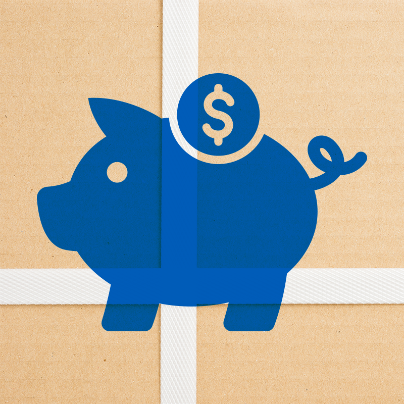 piggy bank icon on top of close up photo of white strapping on cardboard box