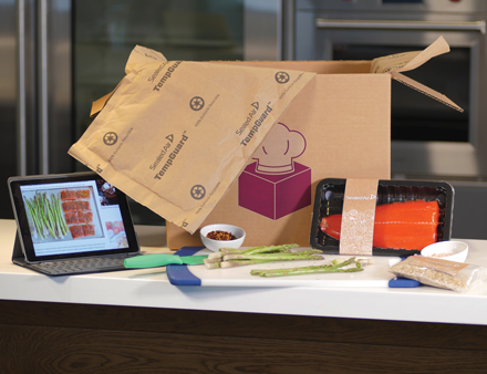 sealed air tempguard insulated packaging material on kitchen counter with mealkit delivery unboxed