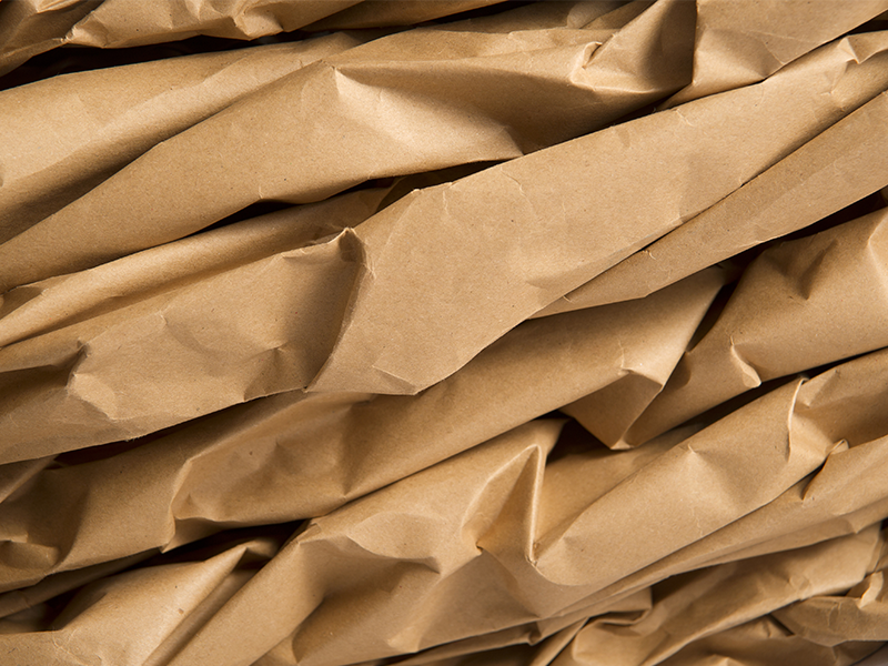 close up of crumpled up kraft paper roll