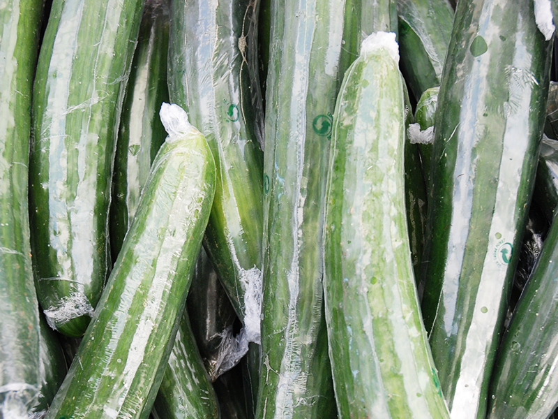 english cucumbers individually wrapped in growpack shrink film