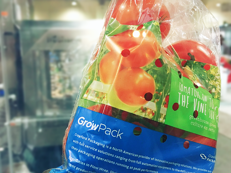 tomatoes on the vine packed in growpack tov bags with blue design