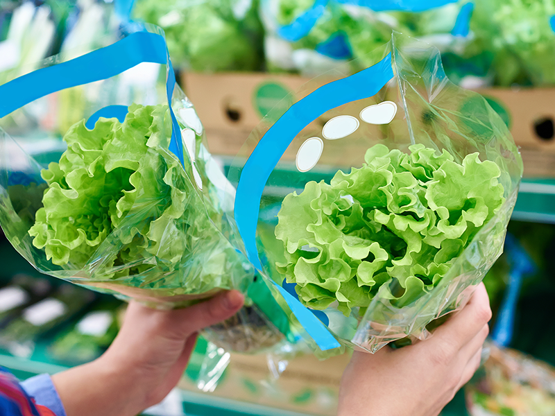 hands holding heads of lettuce packed in growpack produce bag in supermarket