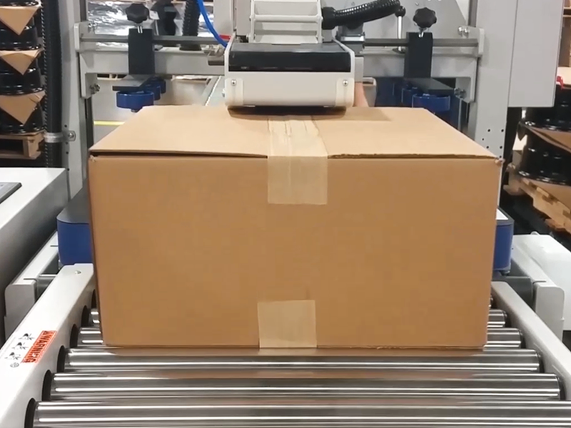 case sealed with an automatic water activated tape case sealer on conveyor