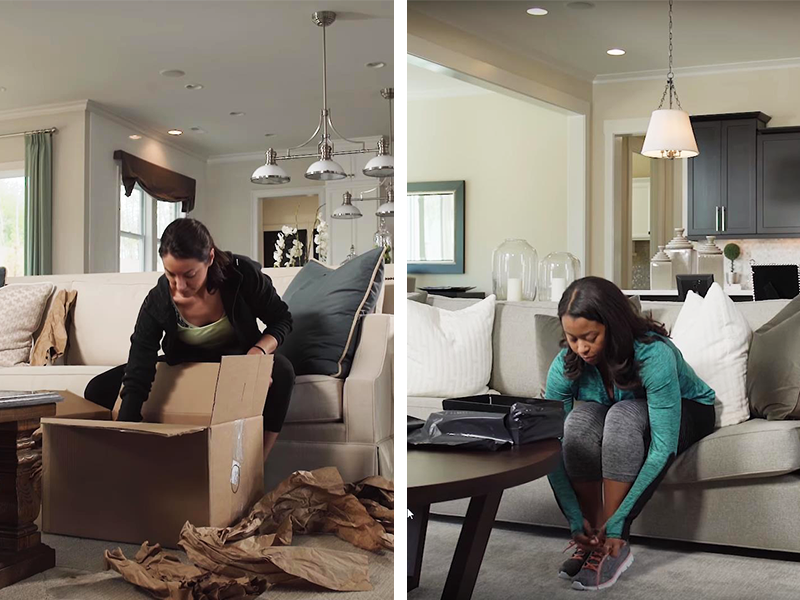 split images showing a women unboxing shoes in traditonal packaging versus stealthwrap